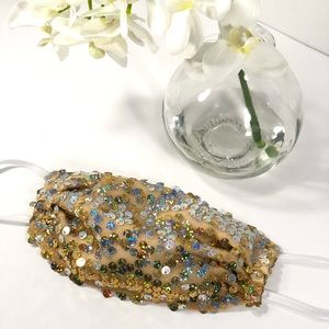 Good and silver sequins face mask